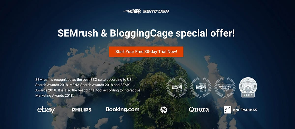 SEMRush FREE Trial - PRO Account for 30 Days 1